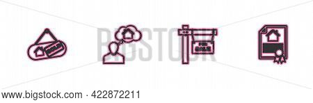 Set Line Hanging Sign With Sold, For Sale, Man Dreaming About Buying House And House Contract Icon.