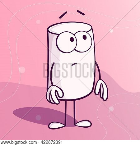 Cute Marshmallow Character With Face Expression In Cartoon Style.