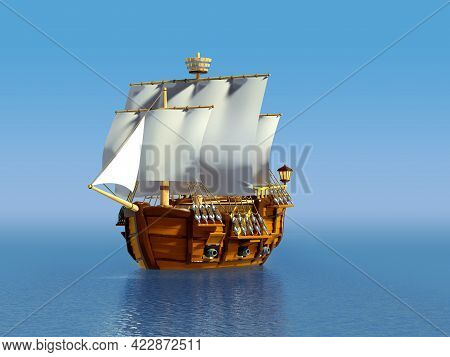 Wooden Ancient Cartoon Ship At Sea, 3d Illustration