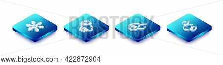Set Isometric Line Snowflake, Cloud With Snow And Sun, Water Drop Percentage And Icon. Vector