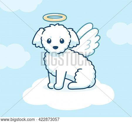 Cute Angel Dog With Wings And Halo On A Cloud In Heaven. Little White Fluffy Puppy Drawing, Vector I