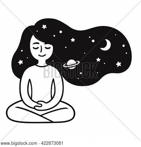 Young Woman Meditating With Stars And Galaxy Hair. Cute Girl Meditation Doodle. Simple Black And Whi