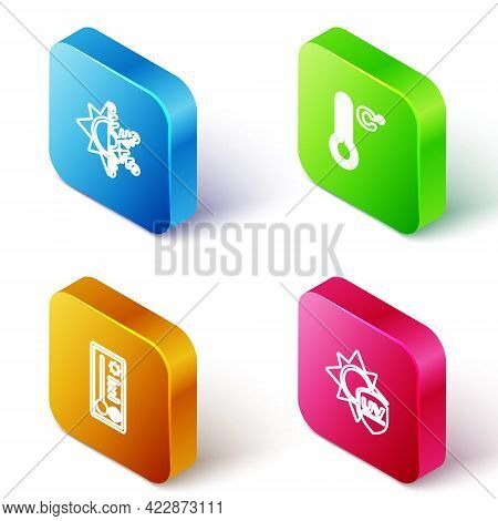 Set Isometric Line Sun And Snowflake, Meteorology Thermometer, And Uv Protection Icon. Vector
