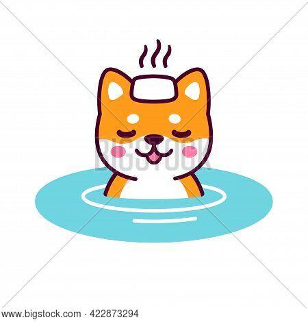 Cute Cartoon Shiba Inu In Japanese Onsen Hot Spring With Steaming Towel On Head. Kawaii Dog Drawing,