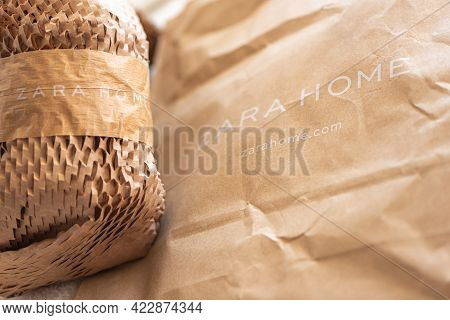 Moscow, Russia - May 11 2021: Brown Corrugated And Crumpled Packaging Paper With Zara Home Brand Nam