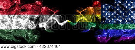 Hungary, Hungarian Vs United States Of America, America, Us, Usa, American, Gay  Smoky Flags Side By