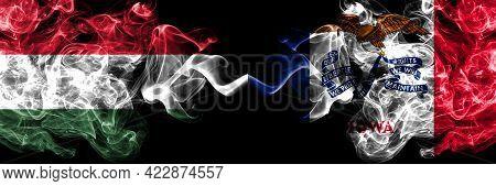 Hungary, Hungarian Vs United States Of America, America, Us, Usa, American, Iowa Smoky Flags Side By