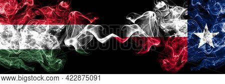 Hungary, Hungarian Vs United States Of America, America, Us, Usa, American, Texas Smoky Flags Side B