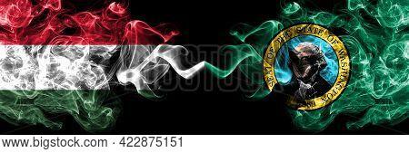 Hungary, Hungarian Vs United States Of America, America, Us, Usa, American, Washington Smoky Flags S
