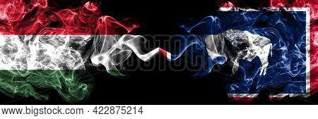 Hungary, Hungarian Vs United States Of America, America, Us, Usa, American, Wyoming Smoky Flags Side