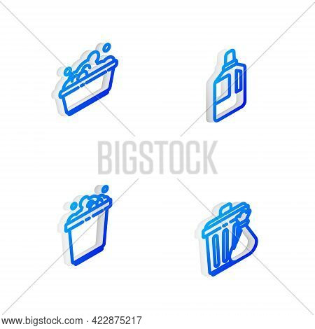 Set Isometric Line Fabric Softener, Plastic Basin With Soap Suds, Bucket And Trash Can And Garbage B