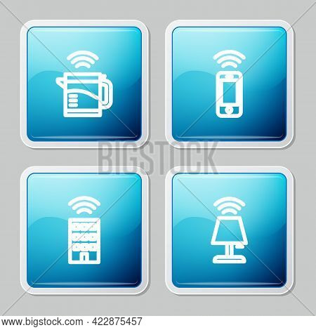 Set Line Smart Electric Kettle, Wireless Smartphone, Home With Wireless And Table Lamp Icon. Vector