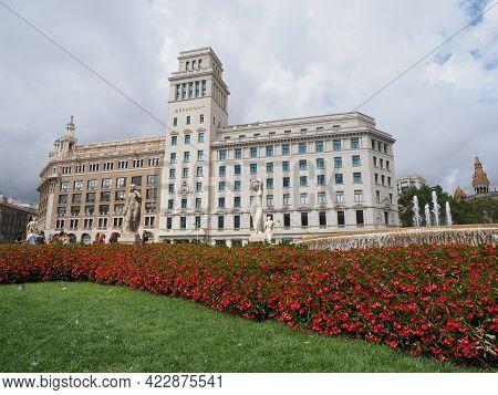 Barcelona, Spain On September 2019: White Iberostar Hotel At Plaza Catalunya On Paseo De Gracia In E