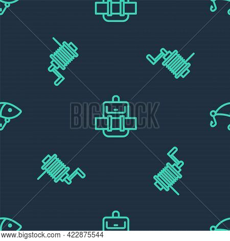 Set Line Hiking Backpack, Spinning Reel For Fishing And Fishing Lure On Seamless Pattern. Vector