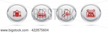 Set Line Online Real Estate House, Hanging Sign With Text Sold, Realtor And For Sale. Silver Circle