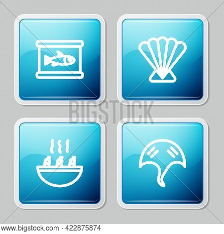 Set Line Canned Fish, Scallop Sea Shell, Soup With Shrimps And Stingray Icon. Vector