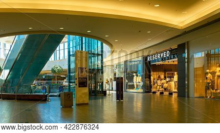 Katowice. Poland 11 May 2021. Shopping Center Building Background In Silesia City Center. People Sho