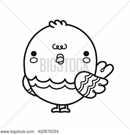 Cute Funny Pigeon Bird. Vector Hand Drawn Cartoon Illustration Icon. Isolated On White Background. L