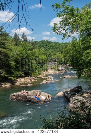 Buckhannon, Wv - June 5, 2021: Visitors And Families At The Audra State Park Near Buckhannon In West