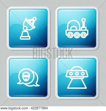 Set Line Satellite Dish, Mars Rover, Alien And Ufo Flying Spaceship Icon. Vector
