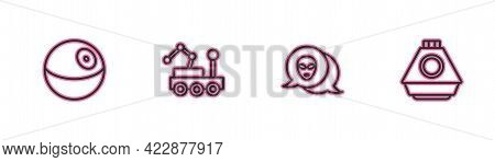 Set Line Planet, Alien, Mars Rover And Space Capsule Icon. Vector