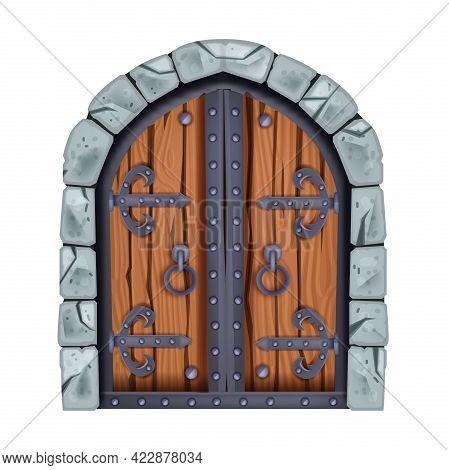 Castle Gate, Medieval Door, Old Wooden City Entrance, Stone Vector Arch Portal, Vintage Iron Handle.