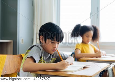 School Children Sitting At Desk In School Writing In Note Book With Pencil, Studying, Education, Lea