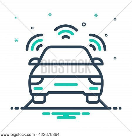 Mix Icon For Autonomous-car Car-sensor Sensor Driving Self Automatic Driverless Self-driving Car Tra
