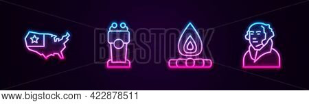 Set Line Usa Map, Stage Stand Or Tribune, Campfire And George Washington. Glowing Neon Icon. Vector