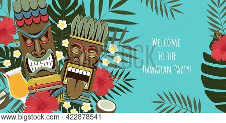 Hawaiian Tiki Statues Banner. Party Invitation. Template For Banner, Flyer, Invitation.