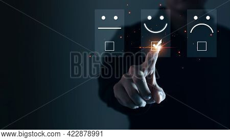 Businessmen Are Choosing Screen On The Happy Smile Face Icon To Give Satisfaction In Service, Custom