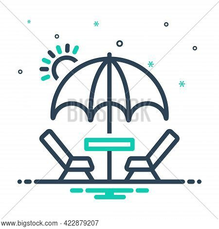 Mix Icon For Picnic Barbecue Excursion Camp Table Umbrella Holiday Outing Resort