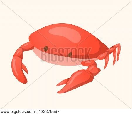 Cartoon Summer Icon Of Red Crab Or Lobster Character With Claws. Isolated Picture Of A Sea Or River