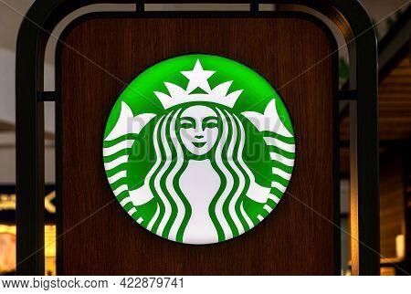 Samara, Russia - June 3, 2017: Starbucks Logo Close Up. Starbucks Is The Largest Coffeehouse Company