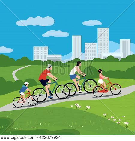 Family Together Cycling In City Park Vector Poster. Father, Mother, Kids Lifestyle Cartoon Illustrat