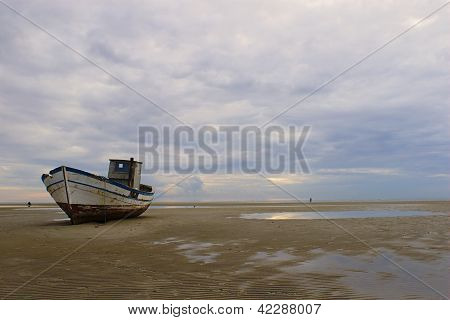 Stranded fishing boat