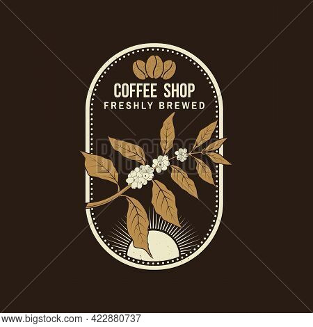 Coffe Shop Logo, Badge Template. Vector . Typography Design With Coffee Cup And Branch Of Coffee Tre