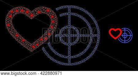 Constellation Mesh Romantic Heart Target With Lightspots. Vector Model Based On Romantic Heart Targe