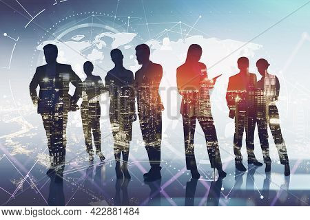 Business People Working Together, Double Exposure Of Skyscrapers And Digital Network Globe Hologram.