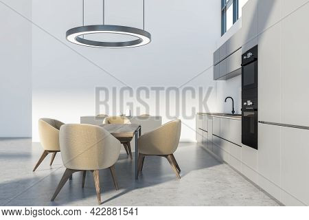 Modern Kitchen Set With Wooden Table And Four Beige Chairs On Grey Floor. Cupboard With Dishes, Mini