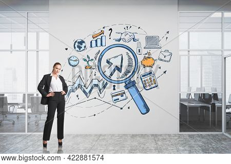 Office Woman Standing Near Conference Room, Colourful Sketch Of Of Icons, Network Connection And Res