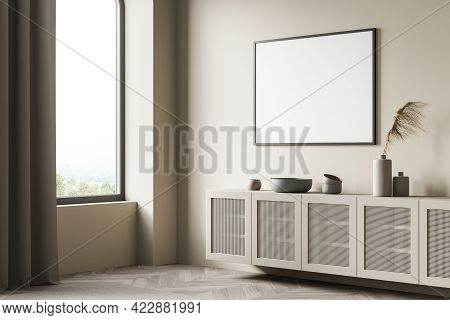 Light Art Room Interior With Wooden Commode With Decoration, Side View, Window With Countryside, Par