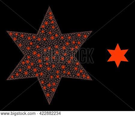 Constellation Mesh Six Pointed Star With Light Spots. Vector Carcass Created From Six Pointed Star I