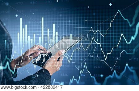 Office Woman Point At Tablet Screen. Stock Market Changes, Forex Dynamics, Virtual Screen Hud With B