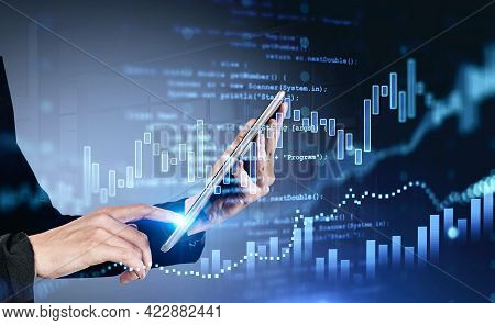 Office Woman Finger Touch Digital Tablet In Hands. Stock Market Changes, Forex Dynamics, Numbers And
