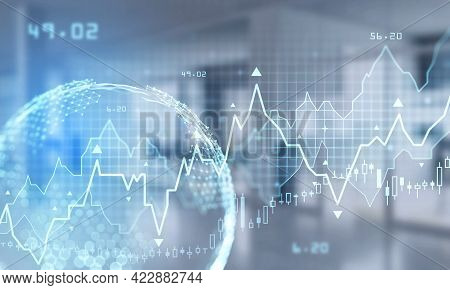 Stock Market Changes, Business Bar Chart With Numbers And Candlesticks. Earth Hologram With Lines, D