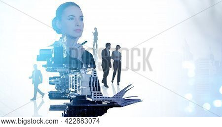 Businesswoman With Notebook, Pensive Look, Business People Conversation, Double Exposure, People And
