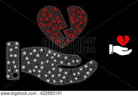 Constellation Mesh Break Heart Offer With Glowing Spots. Vector Constellation Based On Break Heart O