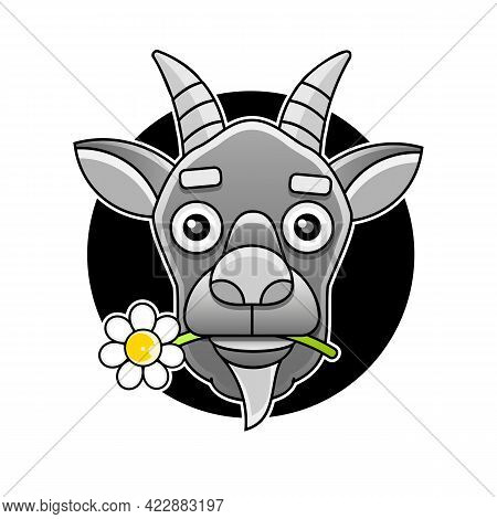Side View Goat Head Logo Template For Meat And Dairy Products, Cartoon Vector Illustration