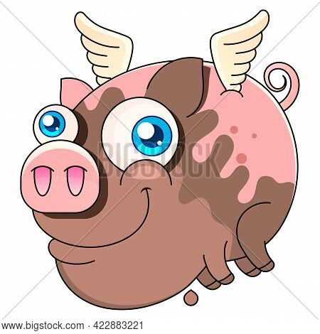 Vector Illustration Of Cute Pig Cartoon Isolated On White